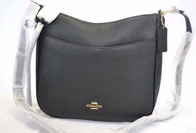 Coach Chaise 35543 Pebble Leather Black/Gold Shoulder Bag $250.00 #607STM