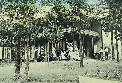Circa 1905 Yellow Banks Hotel  Webster Lake  In Hand Colored Postcard P37