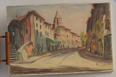 ANTIQUE PAINTING PAINTING ON CANVAS A VILLAGE PROVENCAL SIGN WITHOUT FRAME