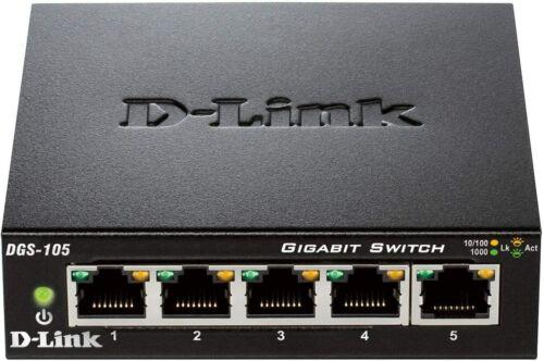 D-Link 5 Port Gigabit Unmanaged Metal Desktop Ethernet Switch DGS-105