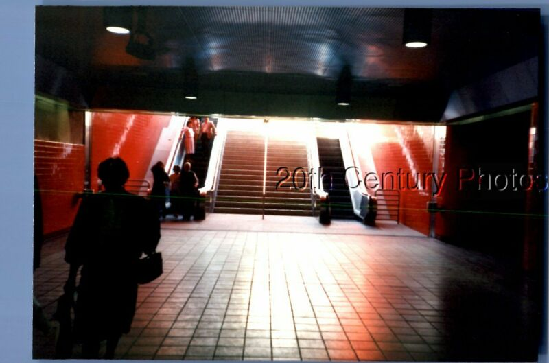 FOUND COLOR PHOTO O+4229 VIEW LOOKING AT STAIRS,PEOPLE ON ESCALATOR