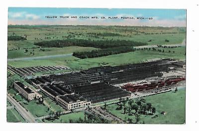 Vintage Postcard Yellow Truck and Coach Mfg Co Plant Pontiac Michigan Greyhound