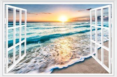 Faux Window Wall - 3D Fake Window Sunrise Ocean Beach Wall Sticker Vinyl Mural Decal Wallpaper
