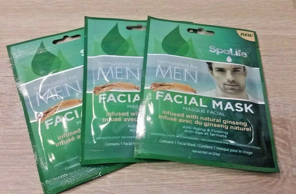 3 PACK SpaLife Facial Mask for Men Infused with Ginseng 3914