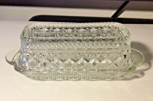 Vintage Glass Anchor Hocking Wexford Crystal Butter Dish w/Lid