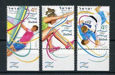 Israel 2016 MNH Olympic Games Rio 2016 Olympics 3v Set Judo Surfing Stamps