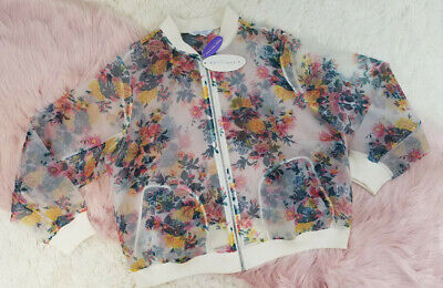 Boutique Plus Womens Floral See Through Bomber Baseball Jacket Sz 0X