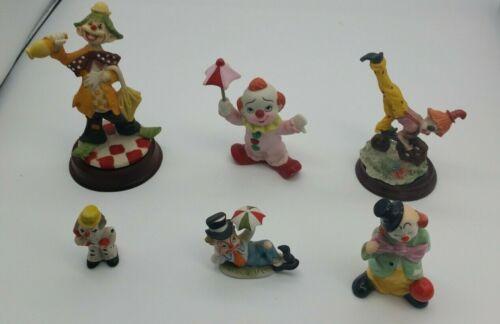 Lot Of 6 Vintage Clown Figurines