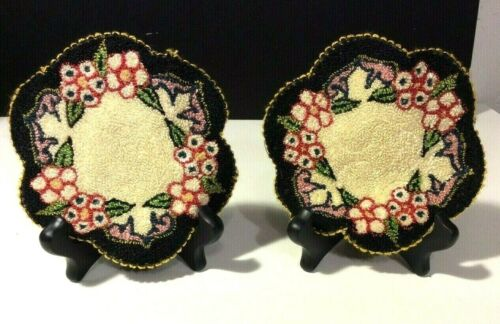 Vintage Miniature Dollhouse Scalloped Edging Rug Occupied Japan Set of 2