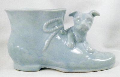 Vintage Art Pottery Planter Old Fashioned Shoe & Puppy Dog Blue Retro 1950s Boy