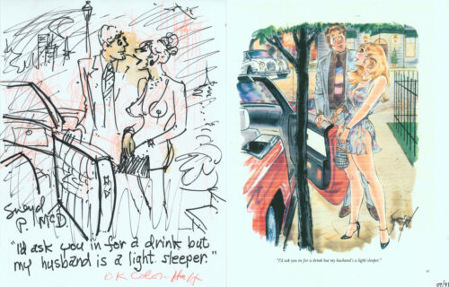 Doug Sneyd Signed Original Playboy Gag Rough Prelim Art Sketch OKed Hugh Hefner
