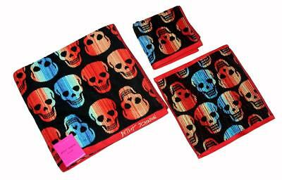 Betsey Johnson Skelator Bright Colors Striped Skulls Bath Sh
