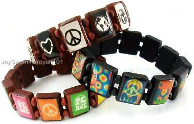 Lot of 3 Wooden Tile Friendship Bracelet Peace Sign Bangle Girls Boys Teens Teens Wooden Bangles