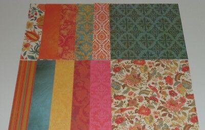 12 pieces of Floral Scrapbook Paper, 6x6, Orange, Blue, Yellow Damask - Floral Scrapbook Paper