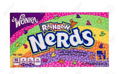 WILLY WONKA NERDS RAINBOW THEATER SIZE BOX 5 OZ CANDY FRESH STOCK!! - Willy Wonka Stock