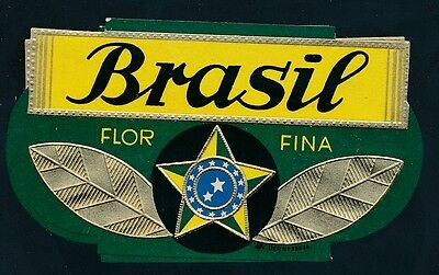 74707) Tabak, Zigarren Kisten Etikett  Brasil FLOR FINA