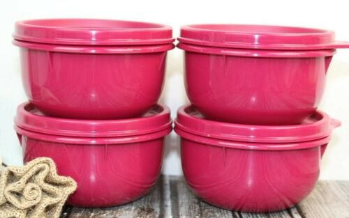 Tupperware Ideal Little Bowls Raspberry Pink 1403A-1 set of 4 New FREE SHIPPING