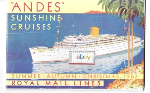 """ROYAL MAIL LINES """"ANDES"""" 1962 CRUISES & DECK PLANS & PRICES SUNSHINE CRUISES"""