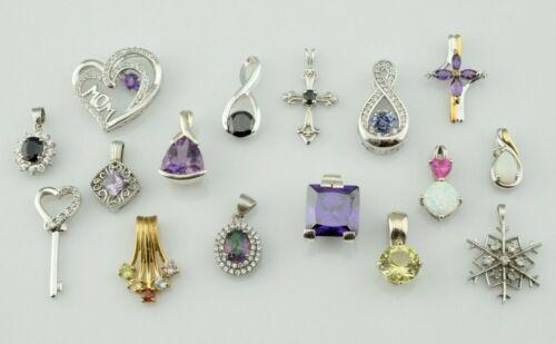 Lot of 16 - Sterling Silver Pendants Multi Gemstone Opal  Amethyst Various Sizes