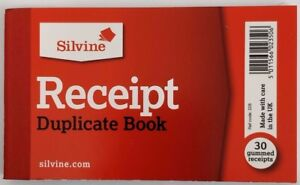 Silvine 228 Small Cash Sales Receipt Duplicate Book with Carbon Copy & Paper