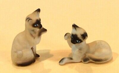 Two Vintage Miniature Siamese Cats