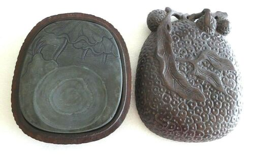 Unique Vintage Chinese Brush Calligraphy Inkwell Stone in carved fruit case