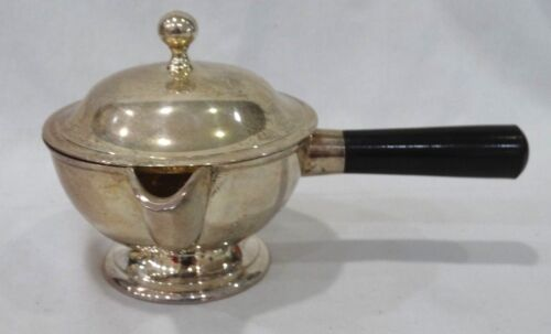 Vintage Silver Plate Tableware Gravy Sauce Spout Pour Pot Covered