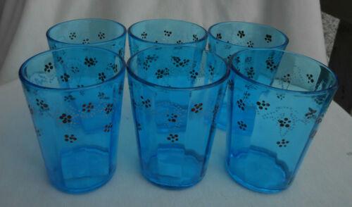6 VICTORIAN ANTIQUE ENAMEL OPTIC BLUE LEMONADE GLASSES FLORAL  HAND PAINTED