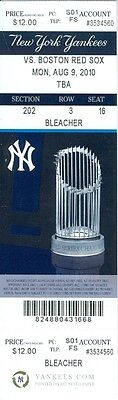 2010 Yankees Vs Red Sox Ticket  Jon Lester Win Mark Teixeira Belted His 26Th Hr