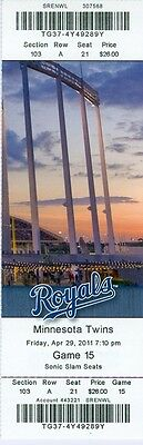 2011 Royals vs Twins Ticket: Luke Hughes homered/ Jarrod Dyson speed wins game