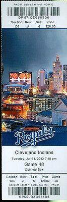 2012 Royals vs Indians Ticket: Jarrod Dyson single, double, triple