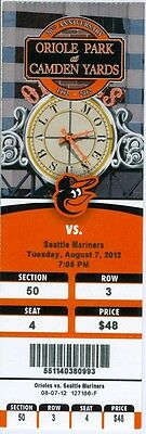 2012 Orioles vs Mariners Ticket: Matt Wieters 2 HR/Kyle Seager & Miguel Olivo HR