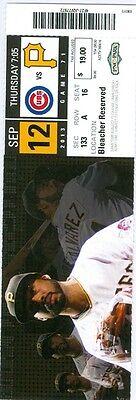 2013 Pirates Vs Cubs Ticket  Jeff Locke Win Mark Melancon Save Jordy Mercer 2 H