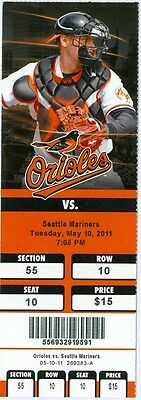 2011 Orioles Vs Mariners Ticket  J J  Hardy   Adam Kennedy Hrs Mike Wilson 1St H