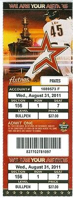 2011 Astros Vs Pirates Ticket  J A  Happ Win  Mark Melancon Save