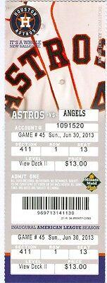 2013 Astros Vs Angels Ticket  C J  Wilson Win    Mark Trumbo Hit Hr