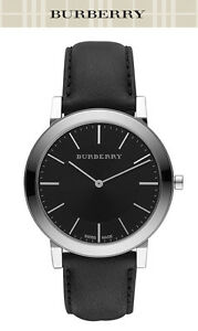 BURBERRY MEN'S BLACK LEATHER THIN LINE BLACK DIAL FASHION * BU2351