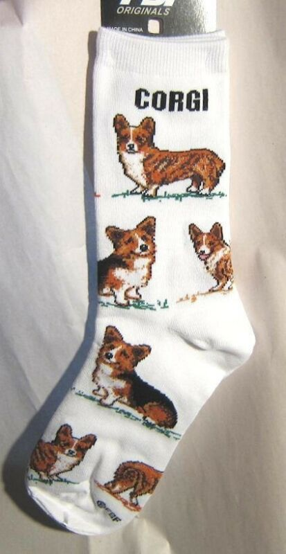 Adult Socks WELSH CORGI Poses Fashion Footwear Dog Socks Size Medium 6-11