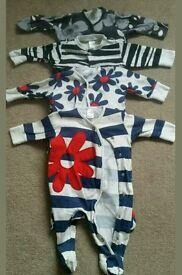 Girls bundle of NEXT sleepsuits 0-3 months