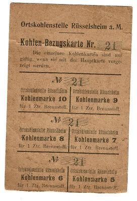 Kohlen-Bezugskarte Ortskohlenstelle Rüsselsheim Dokument Lebensmittelkarte