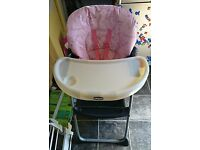 Pink Chicco high chair