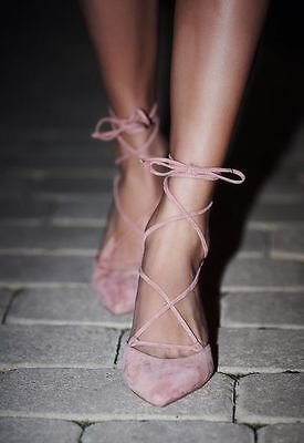Free People Pink Suede Shoe Leather Andra Kitten Heel Pump Lace Up Pump Blush ()