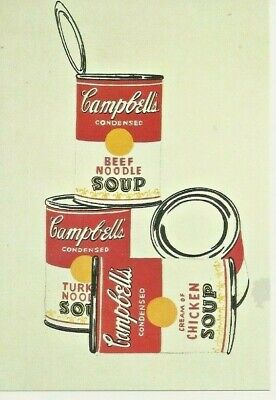 """Postcard Andy Warhol (1962) """"4 Campbell's Soup Cans""""  - NrMint"""