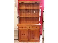 Traditional Pine Welsh Kitchen Dresser Or Display Cabinet With Three Drawers