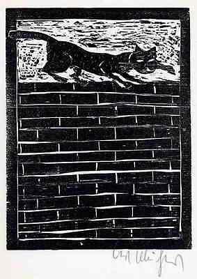 Die KATZE - Kurt MÜHLENHAUPT - Original Holzschnitt  HANDSIGNIERT 1976