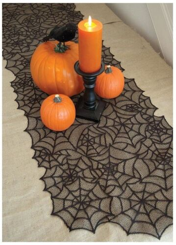 Black Spiderweb Fabric Lace Table Runner 20 x 80 Cobwebs Halloween Tablecloth