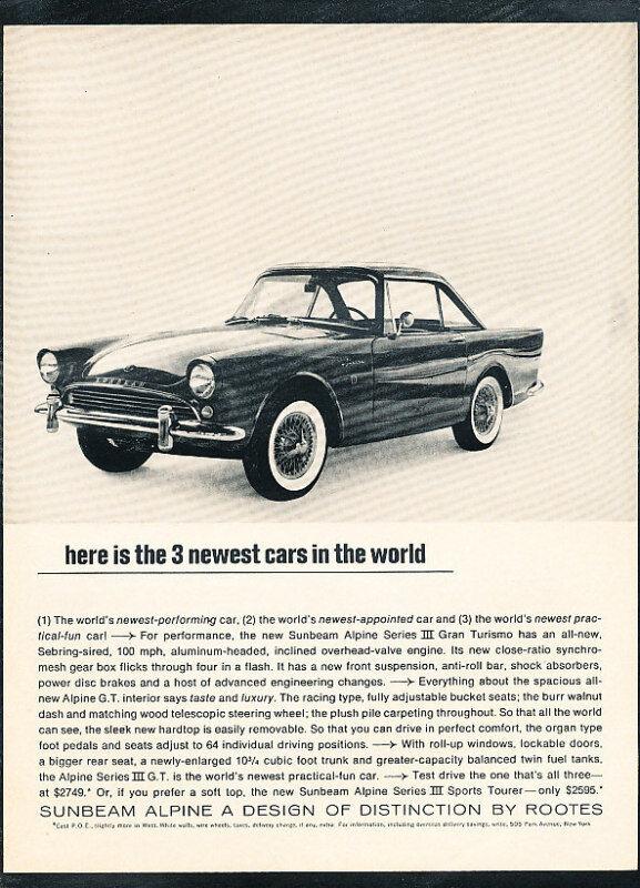 1963 1964 Sunbeam Alpine Origina Vintage Advertisement Car Print Ad