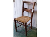 Vintage Elm Chapel Or Church Prayer Chair With Rope Seat