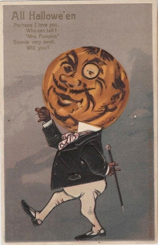 S21.1099 Vintage Halloween Postcard Hard to Find Pumpkin Suitor 1907