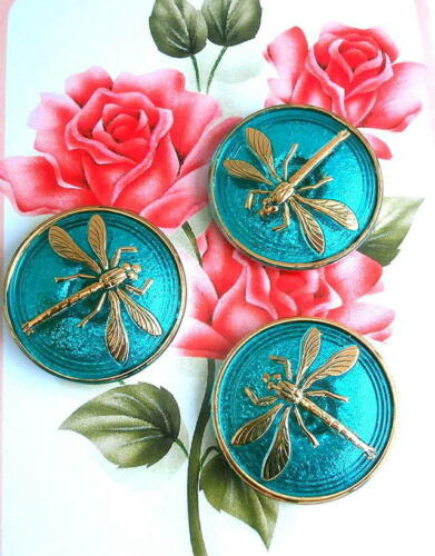 """3 UNIQUE Crystal Glass Buttons #G476 - DRAGONFLY - WOW!!!!!!!! - 31 mm or 1-1/4"""""""
